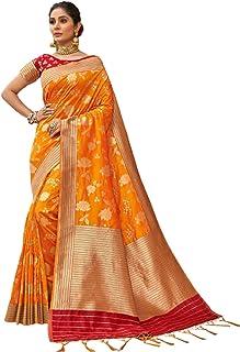 Royal party wedding south indian woman Bridal Silk Saree orange border & Rich Pallu Sari Blouse 6304 2