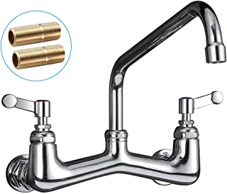 JZBRAIN Wall Mount Kitchen Faucet 8 inch Center Heavy Duty Commercial Faucet Wall Mounted 8