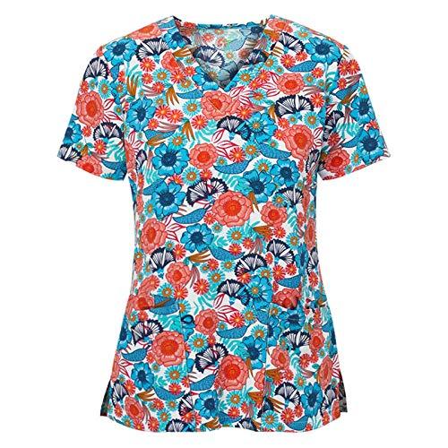 Blusa de mujer de manga corta con cuello en V de manga corta para mujer, color liso, para el día de San Patricio (azul-3XL)