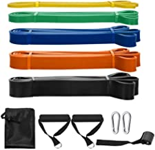 Fanryy Pull Up Assist Bands,5 Packs Pull Up Assist Bands Set Resistance Loop Bands Powerlifting Exercise Stretch Bands with Door Anchor and Handles