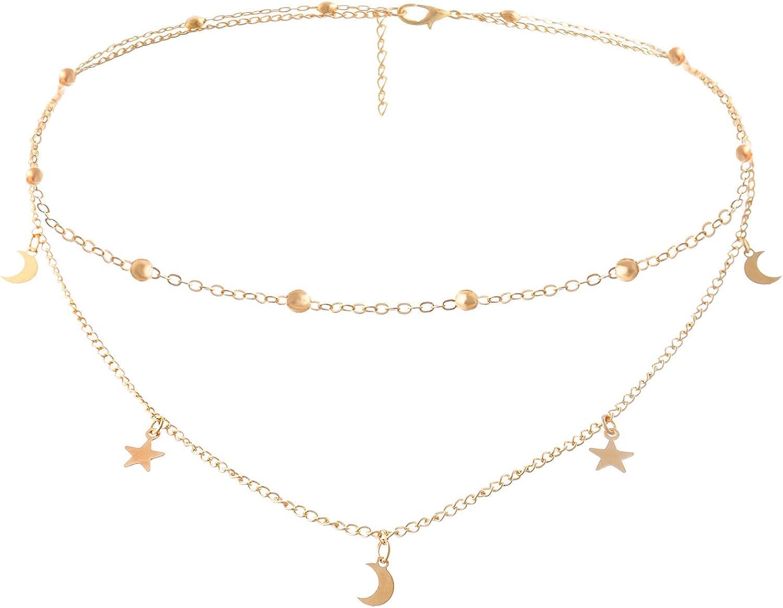 BaubleStar Star Moon Charm Necklace Layering Chain Choker for Women Girls