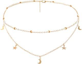 BaubleStar Star Moon Charm Necklace Layering Chain Choker for Women Girls
