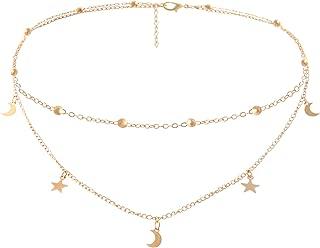 Star Moon Charm Necklace Layering Chain Choker Women Girls