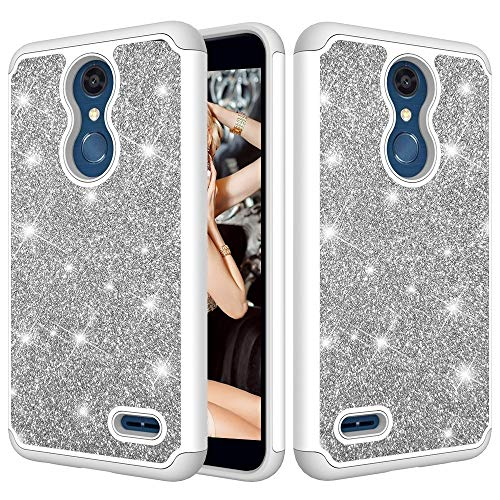ZHENGYAQI-PHONE CASE Caja del teléfono for LG K10 Caja Protectora de la PC + 2018 / K30 Polvo del Brillo del Contraste de la Piel de Silicona a Prueba de Golpes Estuche Protector (Color : Grey)