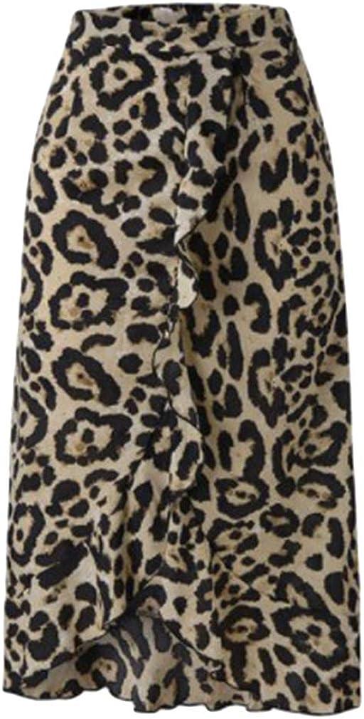 MOONRING Women Wear to Work Comfort Cotton Blend Leopard Midi-Long Skirt,Khaki,L