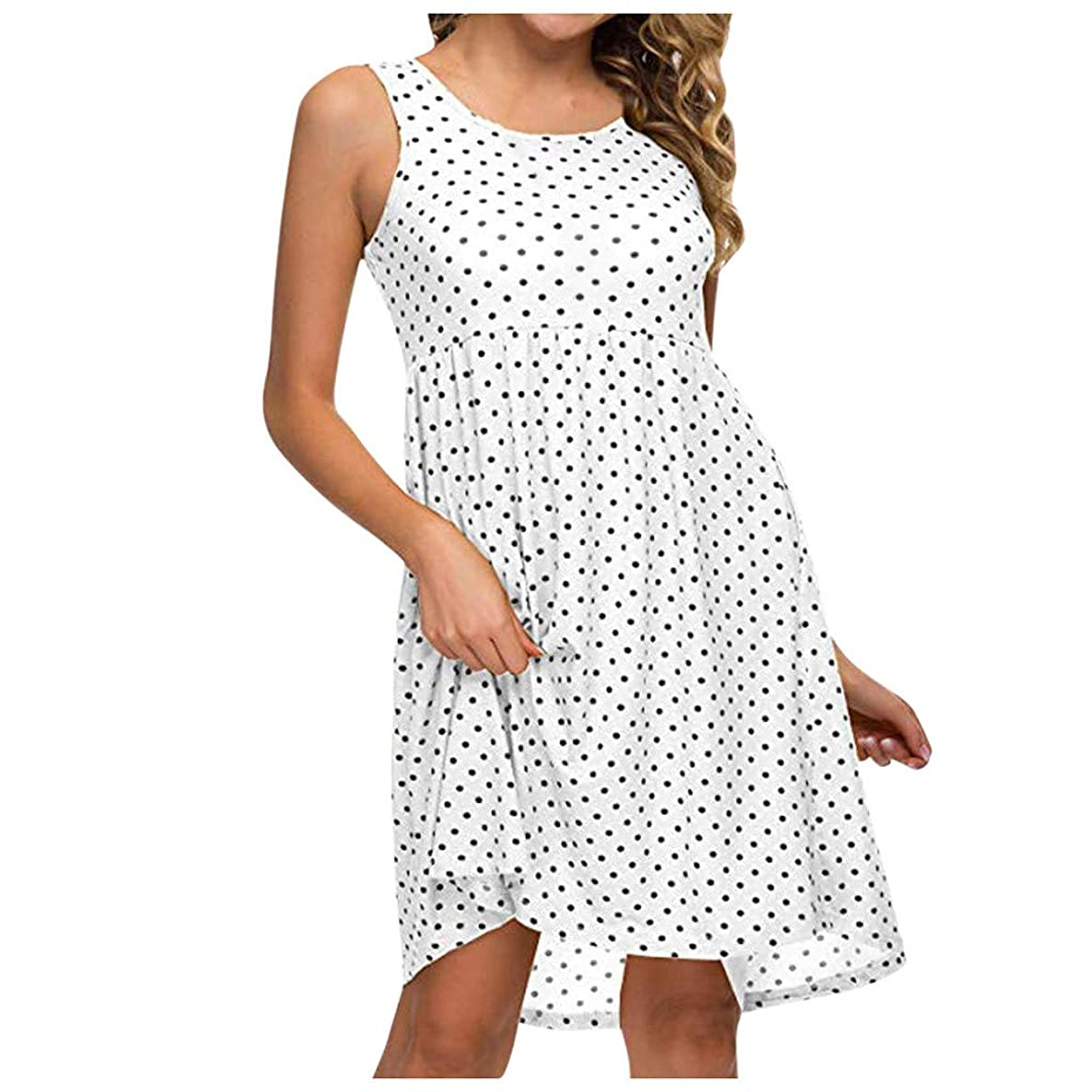 Big Sale,Yetou?Women's Party Dress Summer Casual Dot Print O-Neck Cold Should Sleeveless Mini Dress