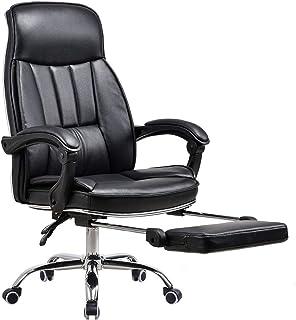 Silla Silla de oficina, cuero de la PU for sillas de escritorio sólido ergonómico ajustable ordenador del juego Sillón giratorio de ejecutivo de ordenador for silla de trabajo Gerente Ejecutivo de la