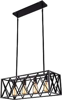 mirrea Vintage Pendant Light Fixture 4 Lights in Rectangle Frame Shade Matte Metal Black Painted Finish