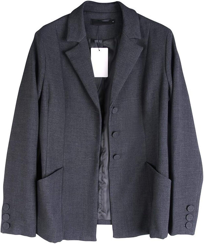 BXSkXOta Women's Lapel Long Sleeve Pocket Button Split Loose Jacket