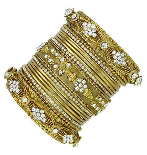 Banithani indische Hochzeit Partei Churi Armbandsatz Goldtone Frauen Armband kada Schmuck 2 * 4