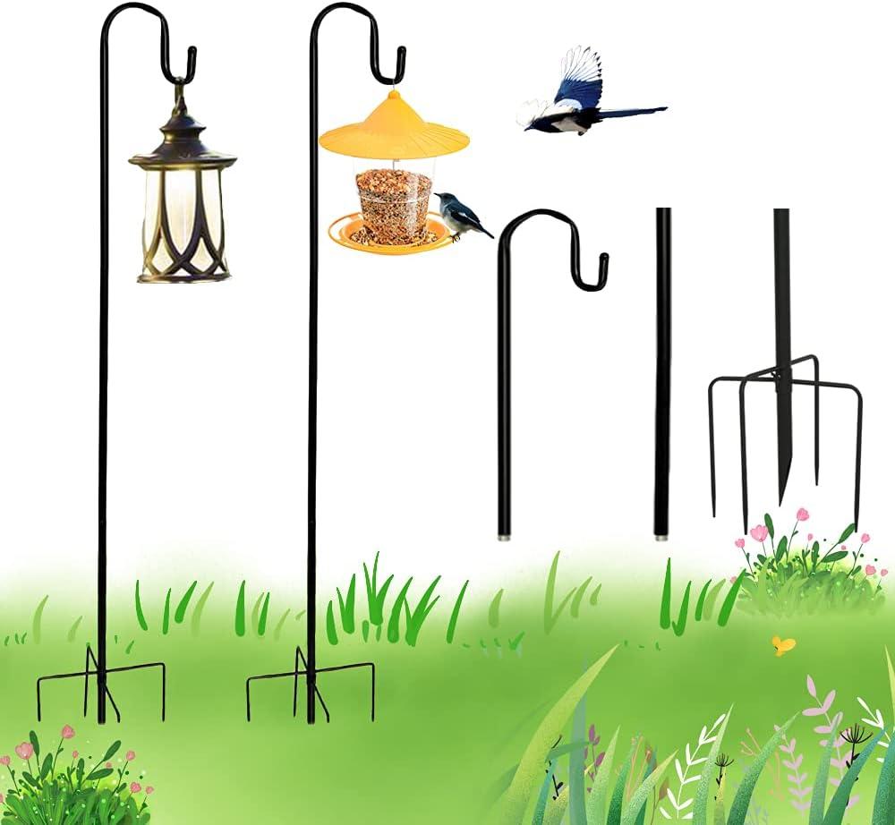 HEONITURE Set of 2 Shepherds Hook 48 in, Shepherds Hook for Bird Feeders, Rust Resistant Shepherd's Hook with 5 Prong Base, Outdoor Hanging Plants Basket,Lanterns, Flower Baskets for Wedding