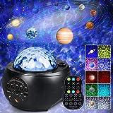 Proyector Estrellas, Lampara Estrella Infantil Proyector Galaxia con 10 Planetas Altavoz Bluetooth Control Remoto 32 Modos de Iluminación para Fiestas y Decoración del Hogar