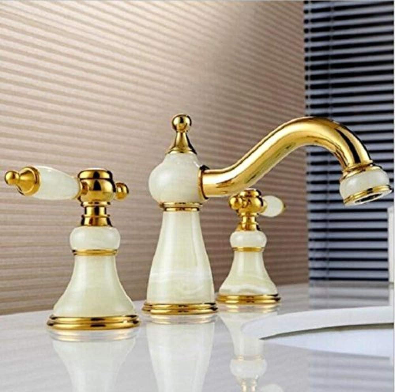 Retro Wasserhahn Messing und Jade heien und kalten drei Lcher Waschbecken Wasserhahn Becken Mixer Becken Tap.Luxury Wasserhahn. Tippen Sie auf WC-Wannenmischer
