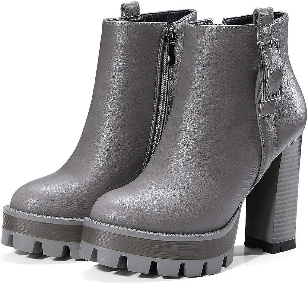 Vimisaoi Cheap SALE Popular product Start Women's Vintage Platform Boots Ank Zip Heel Block High