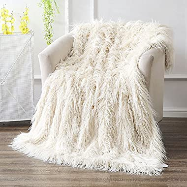 OJIA Super Soft Fuzzy Shaggy Mongolian Lamb Throw Blanket Plush Warm Fluffy Cozy Elegant Long Faux Fur Blanket Bedding Cover Chic Decorative For Bedroom Sofa Floor (50 x 60 Inch, Beige)