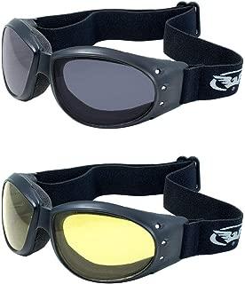 (2 GOGGLES) Motorcycle ATV Riding Smoke and Yellow Glasses Sunglasses Burning Man plus storage bags