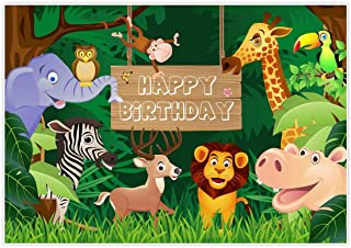 Allenjoy 7x5ft Fabric Jungle Safari Themed Animals Birthday Party Banner Photo Backdrop Background Photography Cartoon Forest Baby Shower 1st First Decoration Cake Smash Candy Table Booth Studio Props