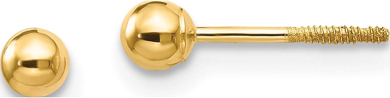 14K Yellow Gold Madi K Polished 3Mm Ball Screwback Earrings (Length=3) (Width=3)