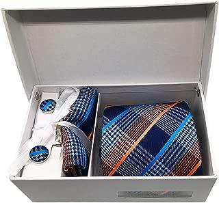 MENDENG Men's Orange Blue Plaid Stripe Necktie Clip Pocket Square Cufflinks Set