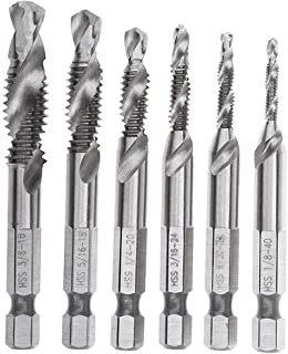 """Migiwata HSS 4341 Imperial 2-in-1 Combination Drill and Tap Bit Set Fractional Inch 1/8''-3/8'' with 1/4"""" Hex Shank and Spiral Flute Tapping Tool Set Kit Hand Tool of 6pcs"""