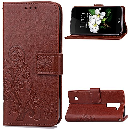 Docrax LG K8 K350N / K7 X210 Handyhülle, Hülle Leder Case mit Standfunktion Magnetverschluss Flipcase Klapphülle kompatibel mit LG K8 / LG K7 - DOSDA041014 Braun