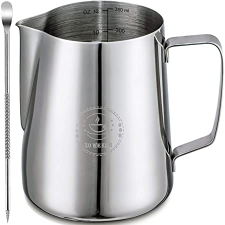 Milk Frothing Pitcher 12oz,Espresso Steaming Pitcher 12oz,Espresso Machine Accessories,Milk Frother cup 12oz,Milk Coffee Cappuccino Latte Art ,Stainless Steel Jug