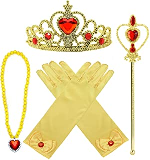 Yosbabe Princess Belle Dress up Accessories 4 Gifts Set Gold Gloves Tiara Crown Necklace Wand