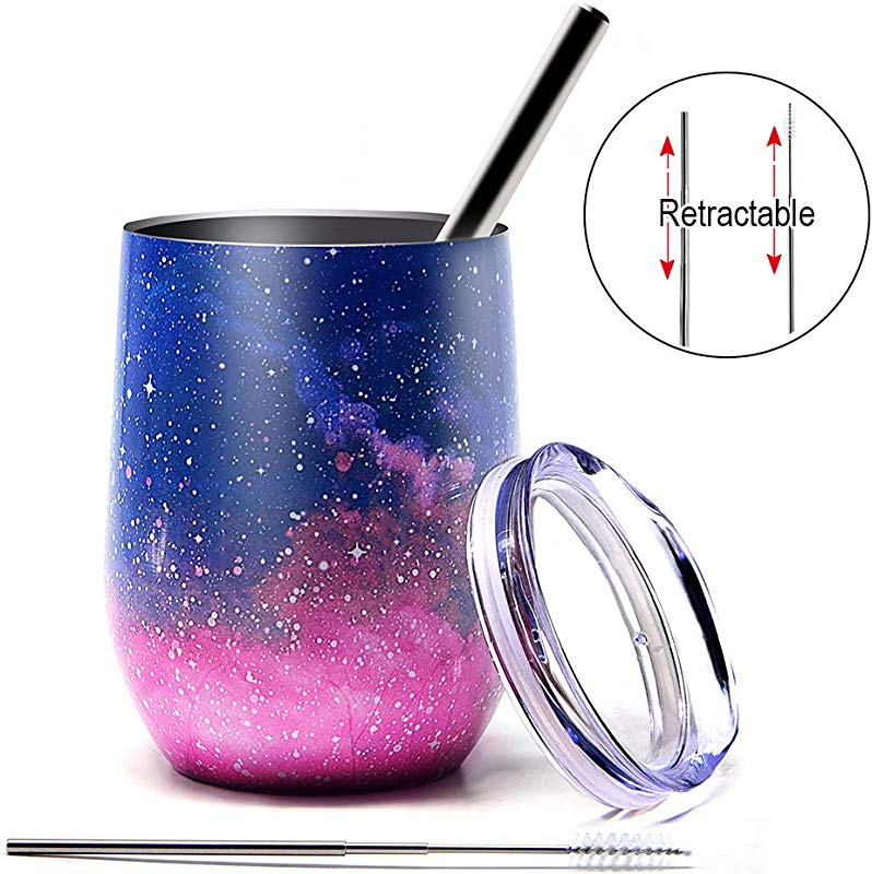 Sunnyac Stainless Steel Stemless Wine Tumbler 12oz Double Wall Vacuum Insulated Glasses With Lid Retractable Straw And Brush Unbreakable Travel Cups For Coffee Drinks Champagne Cocktails Type2