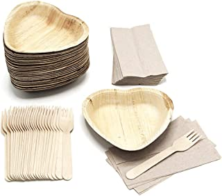 25 Heart Shaped Palm Leaf Plates Set with forks and napkins - Disposable Eco-Friendly Special Occasion Party Supply - I Lo...