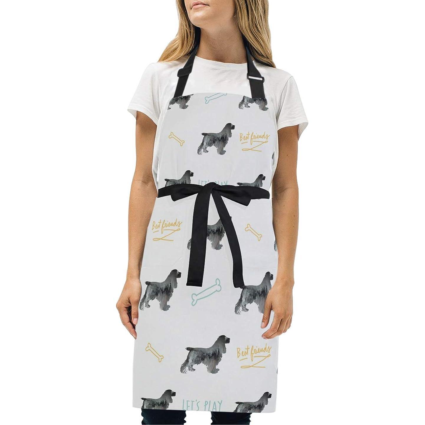 温かい慣らす贅沢シンプルエプロン コッカースパニエル 犬 エプロン 身長に応じて調節できる首ベルト 2ポケット 首掛け 男女兼用