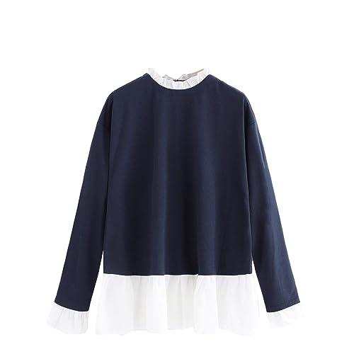 e458f5e699 SheIn Women s Casual Mock Neck Colorblock Heather Knit Sweatshirt