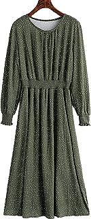 UBANT Womens Long Sleeve Maxi Dress Round Neck Floral Print Casual Tunic Long Maxi Dress