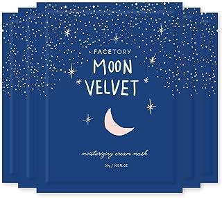 FaceTory Moon Velvet Moisturizing Cream with Jojoba Oil Sheet Mask (Pack of 5) - Moisturizing, Brightening, and Anti-Aging