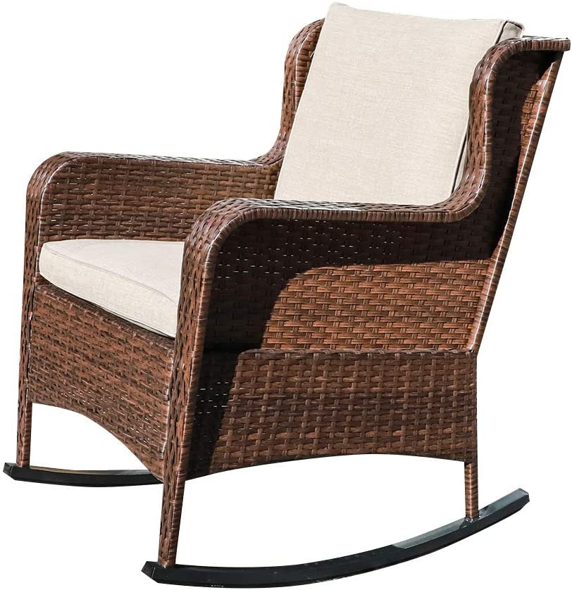 SUNSITT Outdoor Resin Wicker Rocking Chair with Olefin Cushions, Patio Yard Furniture Club Rocker Chair, Brown Wicker & Beige Cushions