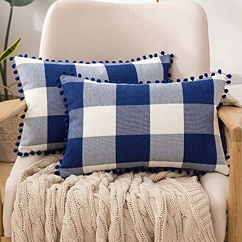 MIULEE Set of 2 Retro Farmhouse Buffalo Plaid Check Pillow Cases with Pom-poms Decorative Throw Pillow Covers Cushion Case for Sofa Couch 12x20 Inch Dark Blue