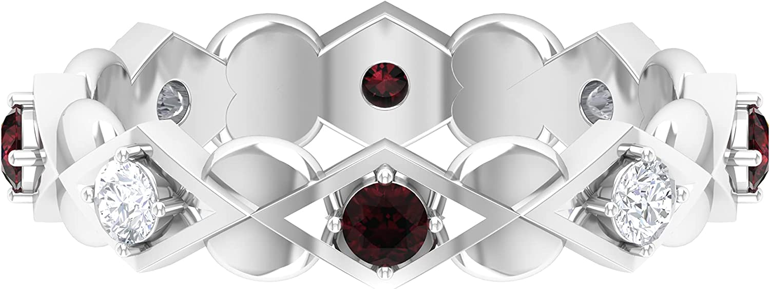 3 All stores Sale SALE% OFF are sold 4 CT Garnet and Diamond Art AAA Ring Deco Gold Quality Band