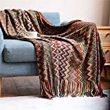 Qucover Manta de Punto Suave /Plaid 130x150 cm Hecha de Microfibra Manta de Picnic Colcha Mantas para Sofa Manta para Dormir, Estilo Boho con Borlas, Color: Rojo