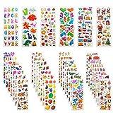 Adesivi per Bambini, Leenou 900+ Adesivi 3D Stickers per Puffy Adesivi per Regali Gratificanti Scrapbooking Inclusi Camion, Aeroplani, Animali, Pesci, Dinosauri, Numeri, Frutta e Altro (36 Fogli)