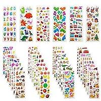 Mega Variety of 3D Aufkleber für Kinder: Jede Packung hat 36 Blätter, mehr als 920, Wie Briefe, Zahlen, Herzen, Rennen, Schmetterlinge, Tiefseeleben, Tiere, Fische, Dinosaurier. Fast alle Funktionen mögen Kinder. die reichhaltigen Inhalte sorgen für ...