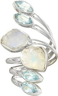 Raw Moonstone Blue Topaz 925 Sterling Silver Ring
