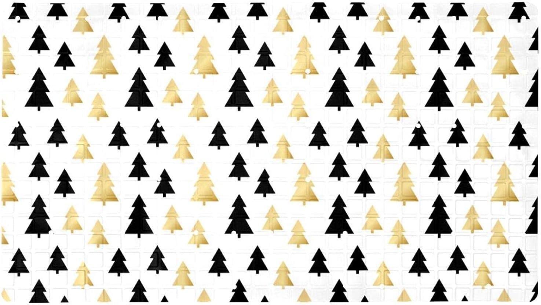 Inhomer Non-Slip Bathtub Mats Black Gold Xmas National products Prints Product B Tree Soft