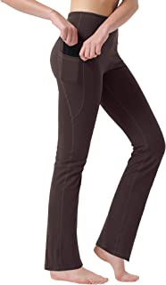 Zeronic Women's High Waist Bootcut Yoga Pants with Pockets Tummy Control Workout Running Pants Long Bootleg Flare Pants