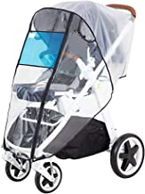 Hrzeem Stroller Rain Cover Stroller Cover Universal Baby Stroller Weather Shield with Storage Pouch EVA Clear Zip Front Opening Waterproof Windproof Protection Easy to Install for Outdoor Use (Black)