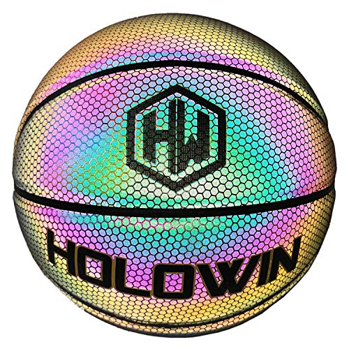 HOLOWIN Reflective Glowing Holographic Luminous Basket Ball for Night Game Perfect HoloHoops Gifts Toys Reflective Black Size 7