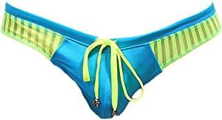 sandbank Men's Sexy Low Rise Mesh Thong Swim Briefs Drawstring Bikini Sport Swimsuit - blue - Large