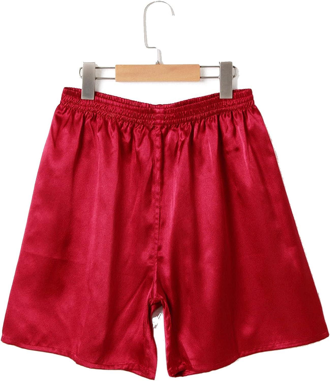 Nice Summer Men Fashion Homewear Robes Shorts Pure Color Silk Satin Pajama Sleepwear Loungewear Underwear
