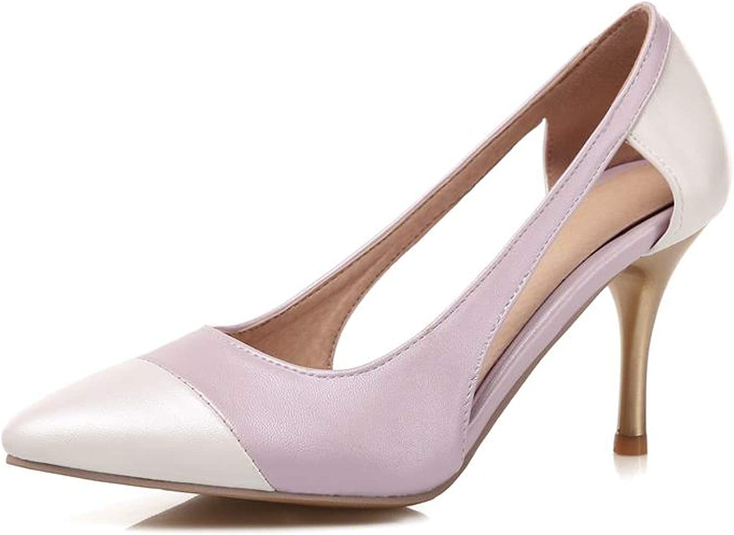 New Summer womenmps Pointed Toe Leather Stiletto high Heels Wedding shoes Woman,Purple,14