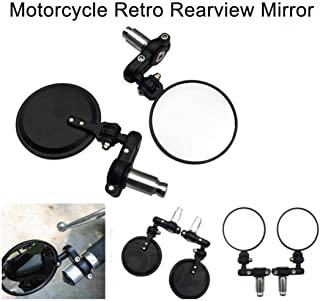 Ugthe 2Pcs Vintage Folding Motorcycle Handlebar Rear Viewer Glass Round Mirror Parts