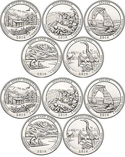 2014 National Parks Set P&D Mint (10 Coins) Uncirculated