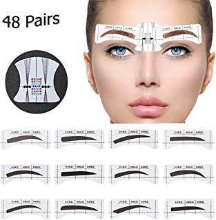 48 Pairs Eyebrow Stencil, PLBAG Eyebrow Shape Stickers Shaping Template Eyebrows Grooming Stencil Kit with 10 Reusable Connection Cards